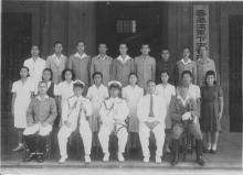 Tsukahara Kichinosuke with Navy Commander General, Counsellor, and Paymaster