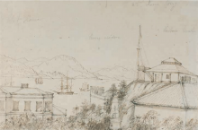 Hong Kong: the Club House, Parsee residence and Harbour Master's house