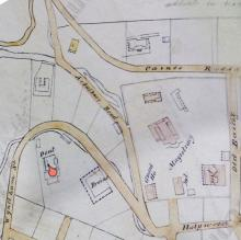 1845 map - Detail of Dent's Bungalow and above