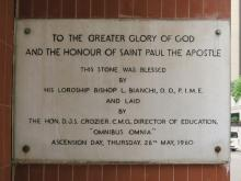 Foundation stone at St. Paul's
