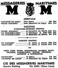 Messageries Maritimes advert, The China Mail 1951-01-02, pg10