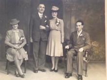 Bert McVey, HKP & Stanley POW (seated right) was 'best man' at the marriage of Robert Cunningham to Donella Goodall, Feb 1946