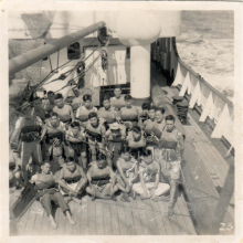Hong Kong Scouts on board Steam Liner Changsha, c1952, 2