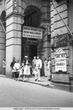 Hong Kong, American evacuees outside the Pedder Building during World War II