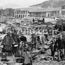 c.1900 View of beached sampans along the Yau Ma Tei shoreline