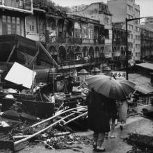 Damage to city done by typhoon Mary.1960