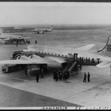 Phil Beekmeijer on 'big leave' after ten years abroad; arriving at Schiphol in 1950, with DC-4 by Braathens SAFE (N-HAT)