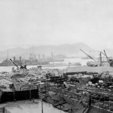 1906 construction of Naval dockyard (after typhoon).