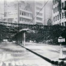 1964 Des Voeux Rd Central after Typhoon Ruby