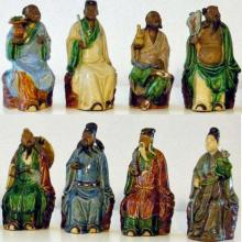 Wesselingh family archives: figurines showing Eight immortal fairies (Pat Sin Leng), ca 1937