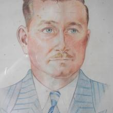 Portrait of Ron Brooks, by AJ Savitsky in Stanley Prison Camp, 1942.