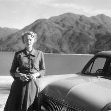 Joyce with Ford Consul on Sha Tin Road