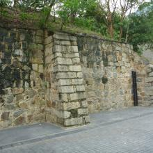 Wall at end of berm