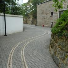 Tracks leading out to the entrance (behind us)