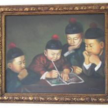 FOUR CHINESE SCHOLARS - Oil Painting 1950c