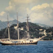 Three masted vessel off Stonecutters Island