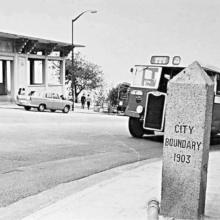 1970s Wing Pit Ting Farewell Pavilion & City of Victoria Boundary Stone