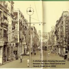 A stitched photo showing the junction between Des Voeux Road Central and Cleverly Street (circa 1950).jpg