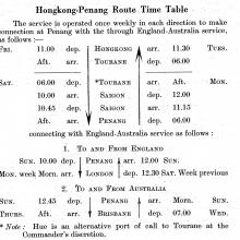 Hongkong-Penang Route Time Table  with London Connections - 1936