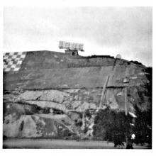 Chequer board hill with radar unit on top
