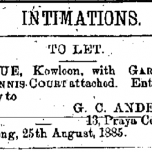 Belvue, Kowloon Hong Kong Daily Press page 1 25th August 1885.png