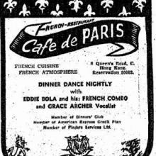 1959 Cafe de Paris Advertisement