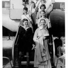 Children arriving at Kai Tak on BOAC, July 1954