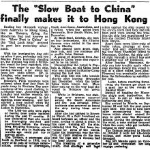 Eleven month voyage between Newcastle, Australia, and Hong Kong