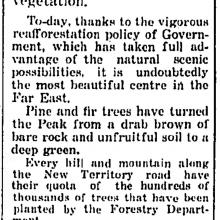 Government's reafforestation policy-HK Telegraph-28-08-1935