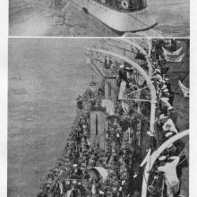 HMS FAME embarking troops from HMS TERRIBLE