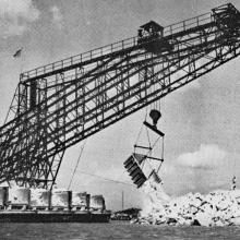 Rock planting machine on a reclamation project-circa 1950