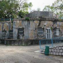 Front view of buildings below battery