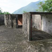 Storage lockers around edge of emplacement