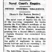Lienshing Sinking - Naval Enquiry  Report