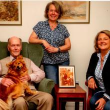 Michael Stewart & his daughters Frances and Isobel (and the dog Liffey) 2020