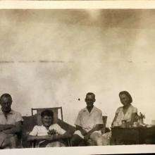 'Supper at Sunset Peak', 24 August 1948. L-R: Douglas Crozier, Ann Crozier. Others are possibly Steve Davis, the geographer after whom the hostel was named, and Elaine Davis. Copyright Crozier family.