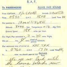 Transport Command flight form.