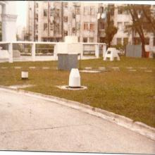 Royal Observatory,Hong Kong,weather instruments on front lawn.