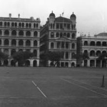Hong Kong, lawn with tennis court