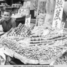 Hong Kong, food stand in the market